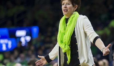 Notre Dame head coach Muffet McGraw questions an official ...