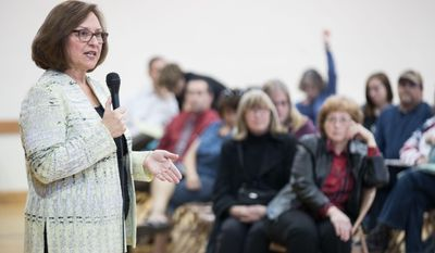U.S. Senator Deb Fischer (R-Neb.) speaks during a listening session at the Holdrege City Auditorium Thursday, March 16, 2017, in Holdrege, Neb  (Matt Dixon/Omaha World-Herald via AP)