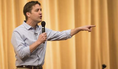 U.S. Senator Ben Sasse answers questions during his town hall meeting Friday, March 17, 2017, in Omaha, Neb.   (Ryan Soderlin/Omaha World-Herald via AP)