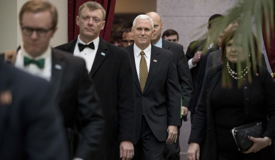 "FILE - In this Wednesday, March 15, 2017 file photo, Vice President Mike Pence arrives for a Republican conference at the Capitol in Washington. On Saturday, March 18, 2107, Pence addressed an audience in Florida, saying President Donald Trump is ""100 percent"" supporting the Republican bill to replace the Affordable Care Act and calls it a ""step in the right direction."" (AP Photo/Andrew Harnik)"