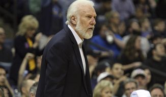San Antonio Spurs coach Gregg Popovich reacts to a call in the first half of an NBA basketball game against the Memphis Grizzlies, Saturday, March 18, 2017, in Memphis, Tenn. (AP Photo/Karen Pulfer Focht)