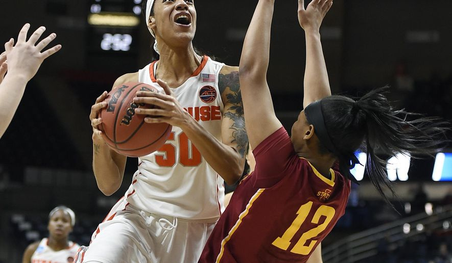 Syracuse's Briana Day, left shoots as Iowa State's Seanna Johnson, right, defends in the second half of a first-round game in the women's NCAA college basketball tournament, Saturday, March 18, 2017, in Storrs, Conn. (AP Photo/Jessica Hill)