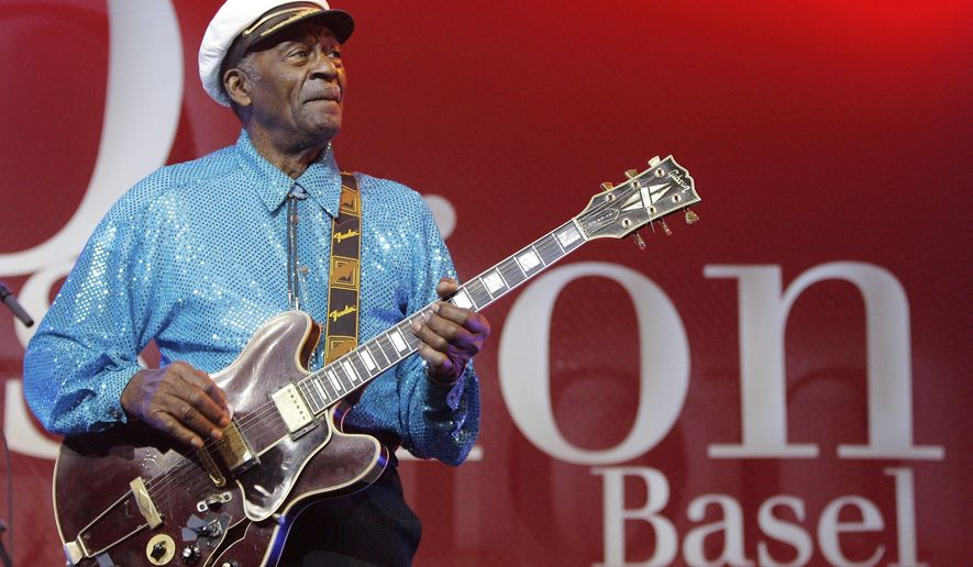 "FILE - In this Nov. 13, 2007 file photo, legendary U.S. musician Chuck Berry performs on stage at the Avo Session in Basel, Switzerland. Berry, rock 'n' roll's founding guitar hero and storyteller who defined the music's joy and rebellion in such classics as ""Johnny B. Goode,"" ''Sweet Little Sixteen"" and ""Roll Over Beethoven,"" died Saturday, March 18, 2017, at his home west of St. Louis. He was 90. (Peter Klaunzer/Keystone via AP, File)"