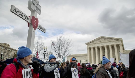 Pro-life activists converge in front of the Supreme Court in Washington, Friday, Jan. 27, 2017, during the annual March for Life. Thousands of anti-abortion demonstrators gathered in Washington for an annual march to protest the Supreme Court's landmark 1973 decision that declared a constitutional right to abortion. (AP Photo/Andrew Harnik)