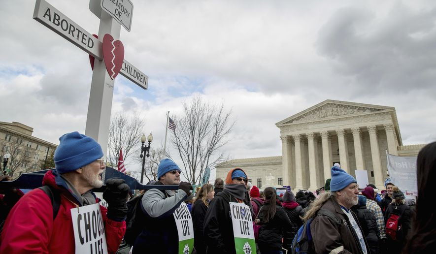 Pro-life activists converge in front of the Supreme Court in Washington, Friday, Jan. 27, 2017, during the annual March for Life. (AP Photo/Andrew Harnik) ** FILE **
