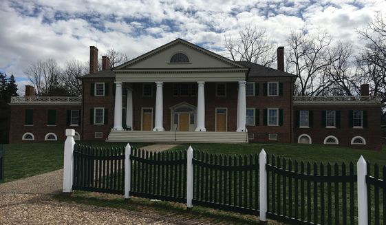 The facade of James Madison's home of Montpelier in Orange, Virginia.  (Eric Althoff/The Washington Times)