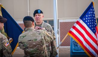 Capt. Matthew Christensen, an Army chaplain, is honored at Fort Benning, Georgia, on March 14, 2017. (Image: U.S. Army, Patrick A. Albright)