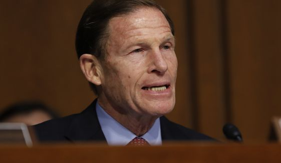 Senate Judiciary Committee member Sen. Richard Blumenthal, D-Conn., speaks on Capitol Hill in Washington, in this Monday, March 20, 2017, file photo during the committee's confirmation hearing for Supreme Court Justice nominee Neil Gorsuch. (AP Photo/Pablo Martinez Monsivais) ** FILE **