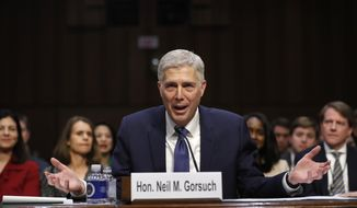 Supreme Court Justice nominee Neil Gorsuch speaks on Capitol Hill in Washington, Monday, March 20, 2017, during his confirmation hearing before the Senate Judiciary Committee. (AP Photo/Pablo Martinez Monsivais)