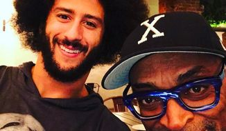 Hollywood director Spike Lee poses with NFL free agent Colin Kaepernick on Sunday, March 19, 2017. (Instagram, Spike Lee) ** FILE **