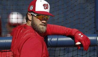 Washington Nationals right fielder Bryce Harper (34) watches batting practice before a spring training baseball game against the New York Yankees Monday, March 20, 2017, in West Palm Beach, Fla. (AP Photo/John Bazemore)