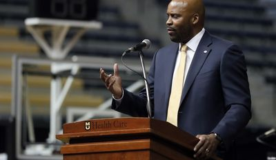 Cuonzo Martin speaks after being introduced as Missouri men's basketball coach Monday, March 20, 2017, in Columbia, Mo. Martin spent the past three seasons as coach at California and comes to Missouri with hopes he can revive the struggling program. (AP Photo/Jeff Roberson)