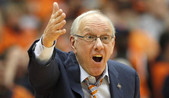 Syracuse head coach Jim Boeheim yells to an official in the second half of an NCAA college basketball NIT game against Mississippi in Syracuse, N.Y., Saturday, March 18, 2017. Mississippi won 85-80. (AP Photo/Nick Lisi)
