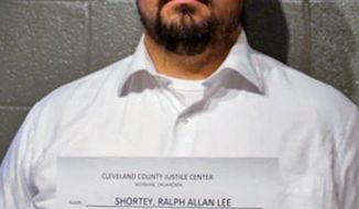 FILE - In this March 16, 2017, file photo, provided by the Cleveland County Sheriff's Office in Norman Okla., shows Ralph Shortey. The FBI in Oklahoma City confirmed Monday, March 20, 2017, it is investigating Shortey, a Republican state senator who is facing felony child prostitution charges after police say he solicited sex from a 17-year-old boy. No federal charges have been filed against Shortey. (Cleveland County Sheriff's Office via AP, File)