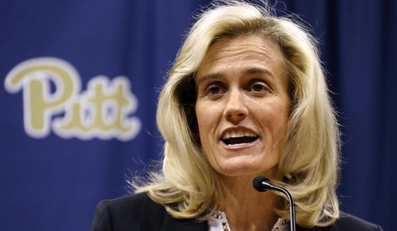 Heather Lyke makes remarks after being introduced as the new athletic director at the University of Pittsburgh in Pittsburgh, Monday, March 20, 2017. Lyke was most recently athletic director at Eastern Michigan University. (AP Photo/Gene J. Puskar)