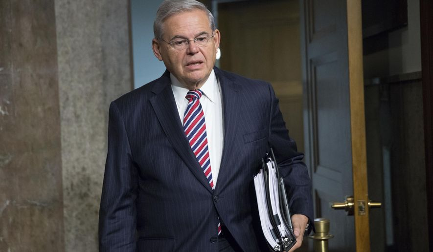 In this photo taken July 23, 2015, Sen. Bob Menendez, D-N.J. is seen on Capitol Hill in Washington. The U.S. Supreme Court on Monday, March 20, 2017, declined to hear Menendez's appeal of his corruption indictment, setting the stage for a federal trial in the fall. The justices let stand a lower court ruling that refused to dismiss charges including conspiracy, bribery and fraud against the Democratic lawmaker.  (AP Photo/Andrew Harnik)