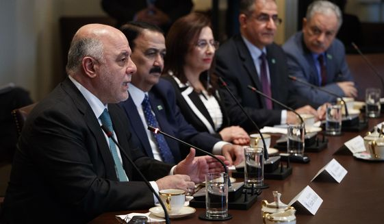 Iraqi Prime Minister Haider al-Abadi speaks during a meeting with President Donald Trump in the Cabinet Room of the White House in Washington, Monday, March 20, 2017. (AP Photo/Evan Vucci)