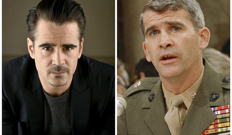 """FILE - In this combination photo, actor Colin Farrell, left, appears during a portrait session, on May 9, 2016 in Beverly Hills, Calif., and Lt. Col. Oliver North appears before a congressional committee holding hearings on the Iran-Contra affair on Capitol Hill in Washington. Farrell is slated to star as Oliver North in a limited series from Amazon. The man who directed Farrell in the film """"Lobster,"""" Yorgos Lanthimos, has been tapped to direct the untitled, one-hour series that will cover the Iran-Contra scandal. (AP Photo/Jordan Strauss and J. Scott Applewhite, Files)"""