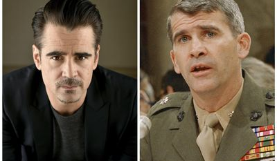 "FILE - In this combination photo, actor Colin Farrell, left, appears during a portrait session, on May 9, 2016 in Beverly Hills, Calif., and Lt. Col. Oliver North appears before a congressional committee holding hearings on the Iran-Contra affair on Capitol Hill in Washington. Farrell is slated to star as Oliver North in a limited series from Amazon. The man who directed Farrell in the film ""Lobster,"" Yorgos Lanthimos, has been tapped to direct the untitled, one-hour series that will cover the Iran-Contra scandal. (AP Photo/Jordan Strauss and J. Scott Applewhite, Files)"