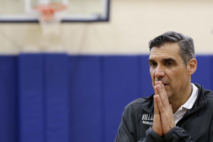 Villanova's Jay Wright pauses while speaking with reporters after a media availability at the NCAA college basketball team's practice facility, Monday, March 20, 2017, in Villanova, Pa. (AP Photo/Matt Slocum)