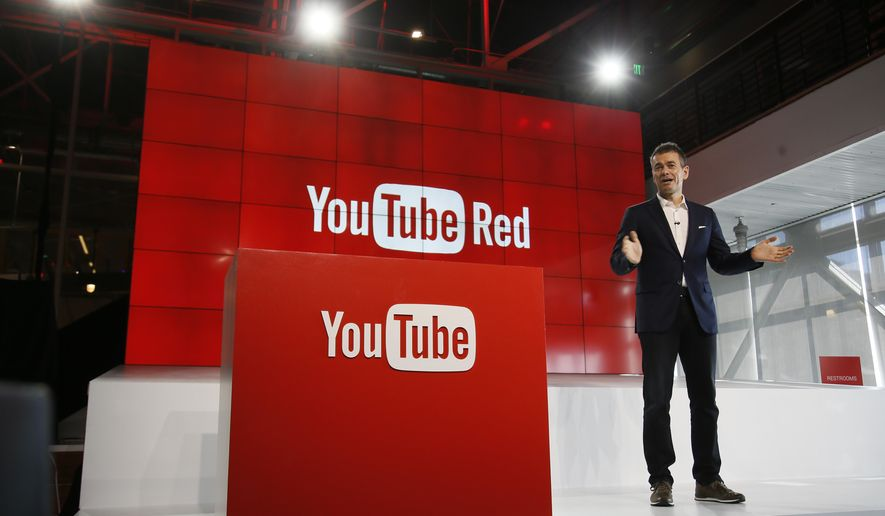 "FILE - In this Oct. 21, 2015, file photo, Robert Kyncl, YouTube Chief Business Officer, speaks as YouTube unveils ""YouTube Red,"" a new subscription service, at YouTube Space LA offices in Los Angeles. YouTube explained why some gay-themed content was restricted for certain users in a tweet on March 19, 2017. (AP Photo/Danny Moloshok, File)"