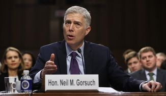 Supreme Court Justice nominee Neil Gorsuch speaks on Capitol Hill in Washington, Tuesday, March 21, 2017, during his confirmation hearing before the Senate Judiciary Committee. (AP Photo/Pablo Martinez Monsivais)