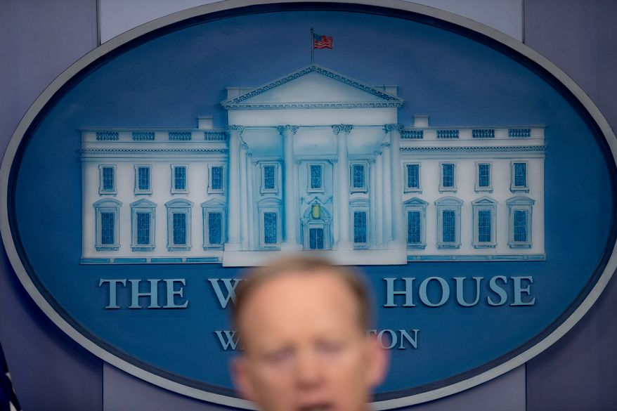 White House press secretary Sean Spicer speaks to the media during the daily press briefing at the White House, Tuesday, March 21, 2017, in Washington. Spicer discussed healthcare, immigration, and other topics. (AP Photo/Andrew Harnik)