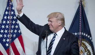 President Donald Trump arrives to speak at the National Republican Congressional Committee March Dinner at the National Building Museum, Tuesday, March 21, 2017, in Washington. (AP Photo/Andrew Harnik)