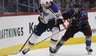 St. Louis Blues left wing Magnus Paajarvi, left, of Sweden, fights for control of the puck with Colorado Avalanche left wing J.T. Compher in the second period of an NHL hockey game Tuesday, March 21, 2017, in Denver. (AP Photo/David Zalubowski)