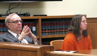 FILE - In this Aug. 20, 2015, file photo, Brittany Pilkington, right, and her attorney, Marc Triplett, listen as a judge sets a bond in Bellefontaine, Ohio. A judge on Monday, March 20, 2017, gave attorneys in the case of Pilkington, an Ohio woman accused of suffocating her three young sons out of jealousy at the attention her husband gave them, a deadline of May 15 for filing any additional motions. (AP Photo/Andrew Welsh-Huggins, File)