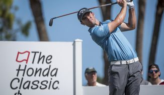 FILE - In this Feb. 24, 2017, file photo, golfer Wesley Bryan tees off on the fourth hole during the Honda Classic golf tournament in Palm Beach Gardens, Fla. For the first time, the winner of the Puerto Rico Open could earn a spot in the Masters. But only if that winner is Wesley Bryan, and even that might not be enough .(Michael Ares/The Palm Beach Post via AP, File)