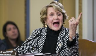 Rep. Louise Slaughter, New York Democrat, speaks on Capitol Hill in Washington on Jan. 5, 2016. (Associated Press) **FILE**