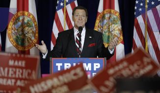 """In this Nov. 5, 2016, file photo, actor, comedian and radio host Joe Piscopo gestures to the audience before a speech by Republican presidential nominee Donald Trump in Tampa, Fla. Piscopo is giving up on running as a Republican for governor to succeed Chris Christie, but the former """"Saturday Night Live"""" cast member is """"more serious"""" than ever about running as an independent, he said in an interview with The Associated Press. (AP Photo/Chris O'Meara, File)"""