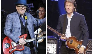 "In this combination photo, musicians Elvis Costello, left, performs at ""The Music of Prince"" tribute concert on March 7, 2013, in New York and Paul McCartney performs during his ""Out There Tour 2015"" on June 21, 2015, in Philadelphia. A new Paul McCartney reissue of ""Flowers in the Dirt"" offers two audio discs that are devoted to McCartney's songwriting collaboration with Elvis Costello in 1987 and 1988.   (Photo by Evan Agostini, left, and Owen Sweeney/Invision/AP, Files)"