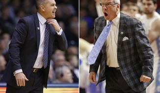 FILE - At left, in a Jan. 4, 2017, file photo, Butler head coach Chris Holtman yells in the first half of an NCAA college basketball game against Villanova in Indianapolis. At right, in a March 19, 2017, file photo, North Carolina head coach Roy Williams shouts at his team during the first half in a second-round NCAA men's college basketball tournament game against Arkansas in Greenville, S.C. Butler and North Carolina meet in an NCAA college basketball tournament regional semifinal game in Memphis, Tenn., on Friday, March 24. (AP Photo/File)