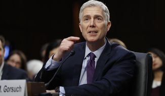 Supreme Court Justice nominee Neil Gorsuch testifies on Capitol Hill in Washington, Tuesday, March 21, 2017, at his confirmation hearing before the Senate Judiciary Committee. (AP Photo/Pablo Martinez Monsivais)