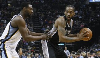 Memphis Grizzlies' Tony Allen (9) defends San Antonio Spurs' Kawhi Leonard (2) during the second half of an NBA basketball game Saturday, March 18, 2017, in Memphis, Tenn. The Grizzlies won 104-96. (AP Photo/Karen Pulfer Focht)