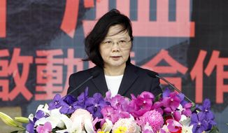 Taiwan's President Tsai Ing-wen delivers a speech during a visit at Zuoying Naval base in Kaohsiung, southern Taiwan, Tuesday, March 21, 2017. (AP Photo/ Chiang Ying-ying) ** FILE **