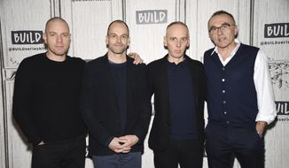"Actors Ewan McGregor, left, Jonny Lee Miller and Ewen Bremner pose with director Danny Boyle, right, backstage at the BUILD Speaker Series to discuss the film, ""T2 Trainspotting,"" at AOL Studios on Tuesday, March 14, 2017, in New York. (Photo by Evan Agostini/Invision/AP)"