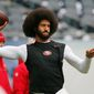 "FILE - In this Dec. 4, 2016, file photo, San Francisco 49ers quarterback Colin Kaepernick warms up before an NFL football game against the Chicago Bears. Spike Lee said on Instagram Sunday, March 19, 2017, that it was ""fishy"" that Kaepernick, now a free agent, hadn't been signed."" (AP Photo/Charles Rex Arbogast, File) **FILE**"