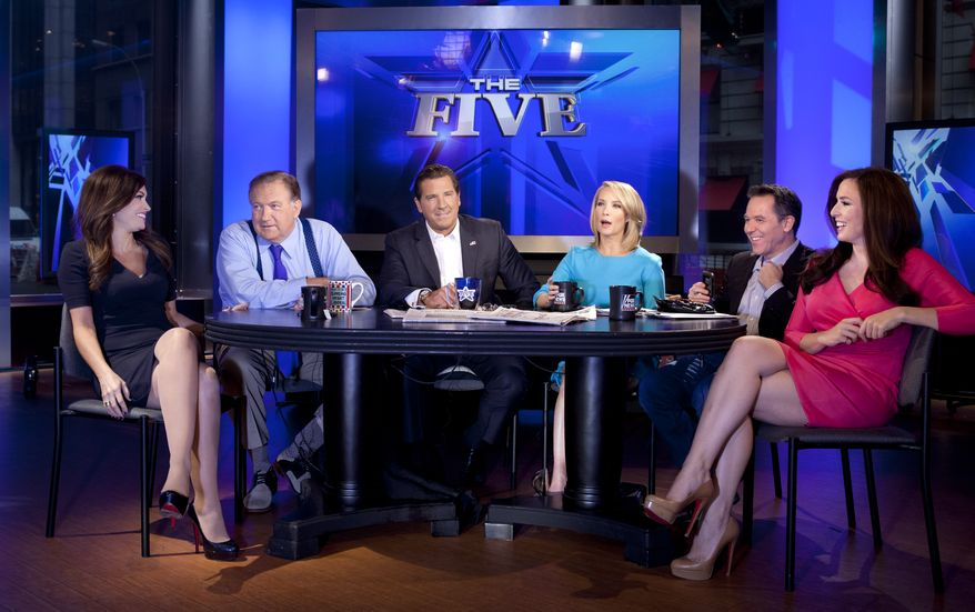 """From left, Kimberly Guilfoyle, Bob Beckel, Eric Bolling, Dana Perino, Greg Gutfeld and Andrea Tantaros co-hosts of Fox News Channel's """"The Five"""" pose for a portrait in studio following a taping of the show Monday, July 1, 2013 in New York. (Photo by Carlo Allegri/Invision/AP Images)"""
