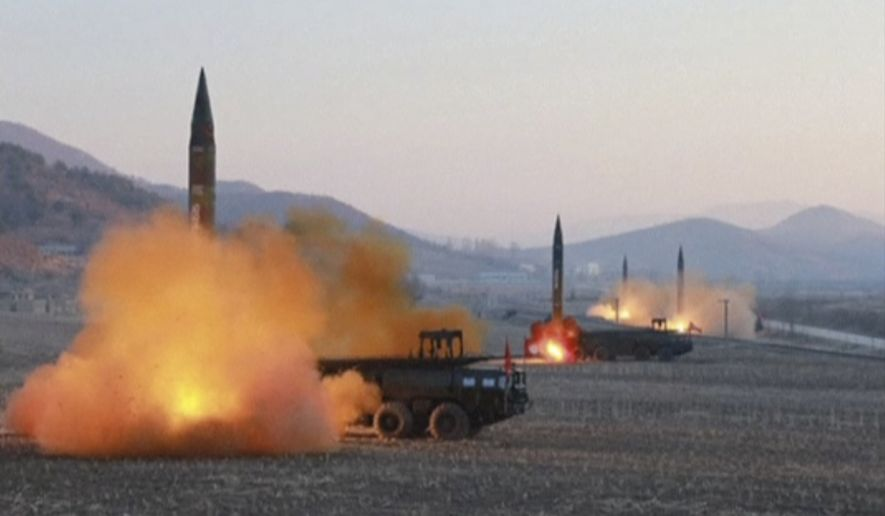 In this file image made from video released by KRT on Tuesday, March 7, 2017, North Korea launches four missiles in an undisclosed location North Korea. (KRT via AP Video, File)