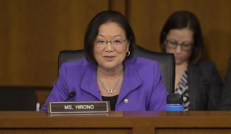 Senate Judiciary Committee member Sen. Mazie Hirono, D-Hawaii questions Supreme Court Justice nominee Neil Gorsuch on Capitol Hill in Washington, Wednesday, March 22, 2017, during Gorsuch's confirmation hearing before the committee. (AP Photo/Susan Walsh)