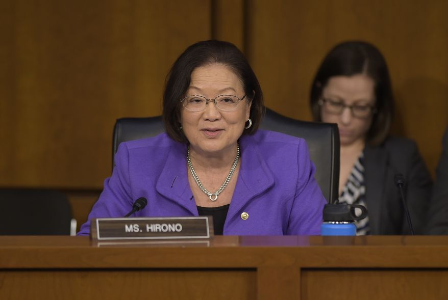 Senate Judiciary Committee member Sen. Mazie Hirono, D-Hawaii questions Supreme Court Justice nominee Neil Gorsuch on Capitol Hill in Washington, Wednesday, March 22, 2017, during Gorsuch's confirmation hearing before the committee. (AP Photo/Susan Walsh) ** FILE **