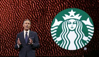 Starbucks CEO Howard Schultz speaks at Starbucks annual shareholders meeting in Seattle on March 22, 2017. (Associated Press) **FILE**