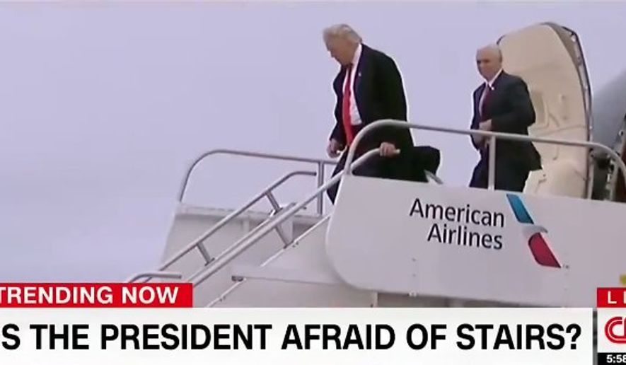 CNN ran a segment questioning whether President Trump is afraid of stairs.