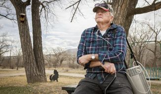 ADVANCE FOR THE WEEKEND OF MARCH 25-26 AND THEREAFTER - Battlement Mesa, Colo. homeowner Dutch Wiernga, seen in a Tuesday, March 21, 2017 photo, voices his frustration with the possibility of a new URSA well-pad being built near the home he and his wife have owned for the past 20 years. Although Wierenga's front door is about 500 feet from the Battlement Mesa pad, his No. 1 concern is the kids. Grand Valley High School sits several hundred feet above his home. (Chelsea Self/Glenwood Springs Post Independent via AP)