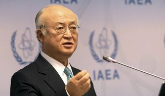 FILE - In this March 6, 2017 file photo, Director General of the International Atomic Energy Agency, IAEA, Yukiya Amano of Japan speaks in Vienna, Austria. The inspections regime put in place to closely monitor Iran's nuclear activity is in jeopardy unless the U.S. and other nations contribute more money, the head of the U.N.'s International Atomic Energy Agency said Wednesday, March 22, 2017.  (AP Photo/Ronald Zak, File)