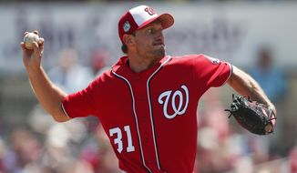 Washington Nationals starting pitcher Max Scherzer works in the first inning of a spring training baseball game against the St. Louis Cardinals, Wednesday, March 22, 2017, in Jupiter, Fla. (AP Photo/John Bazemore)
