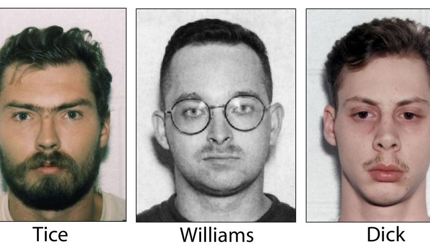 """FILE - This undated, combination file photo shows Derek Tice, from left, Danial Williams and Joseph Dick, who, along with Eric Wilson, were convicted in the 1997 rape and killing of Michelle Moore-Bosko. On Tuesday, March 21, 2017, Gov. Terry McAuliffe pardoned the four former sailors who became known as the """"Norfolk Four."""" A spokesman for McAuliffe told The Associated Press on Tuesday that the governor has granted absolute pardons for the men. DNA evidence linked another man, Omar Ballard, to the crimes. He said he was solely responsible and is serving a life sentence.  (The Virginian-Pilot via AP, File)"""
